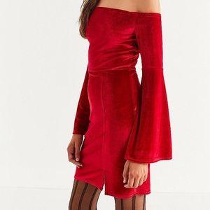 UO Bell Sleeve Red Velvet Dress
